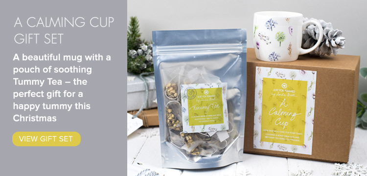 A beautiful mug with a pouch of soothing Tummy Tea – the perfect gift for a happy tummy this Christmas