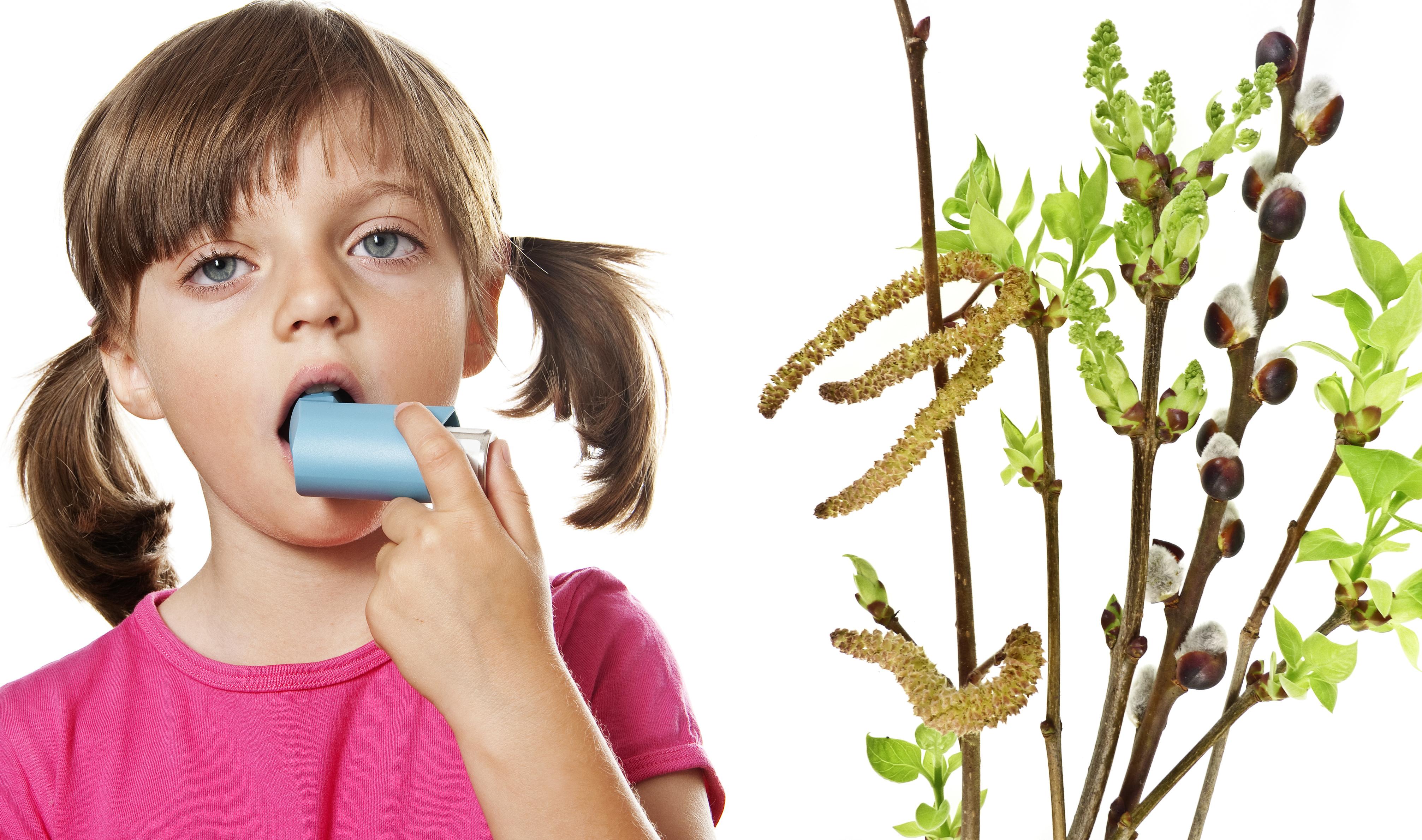 little girl with inhaler - respiratory problems