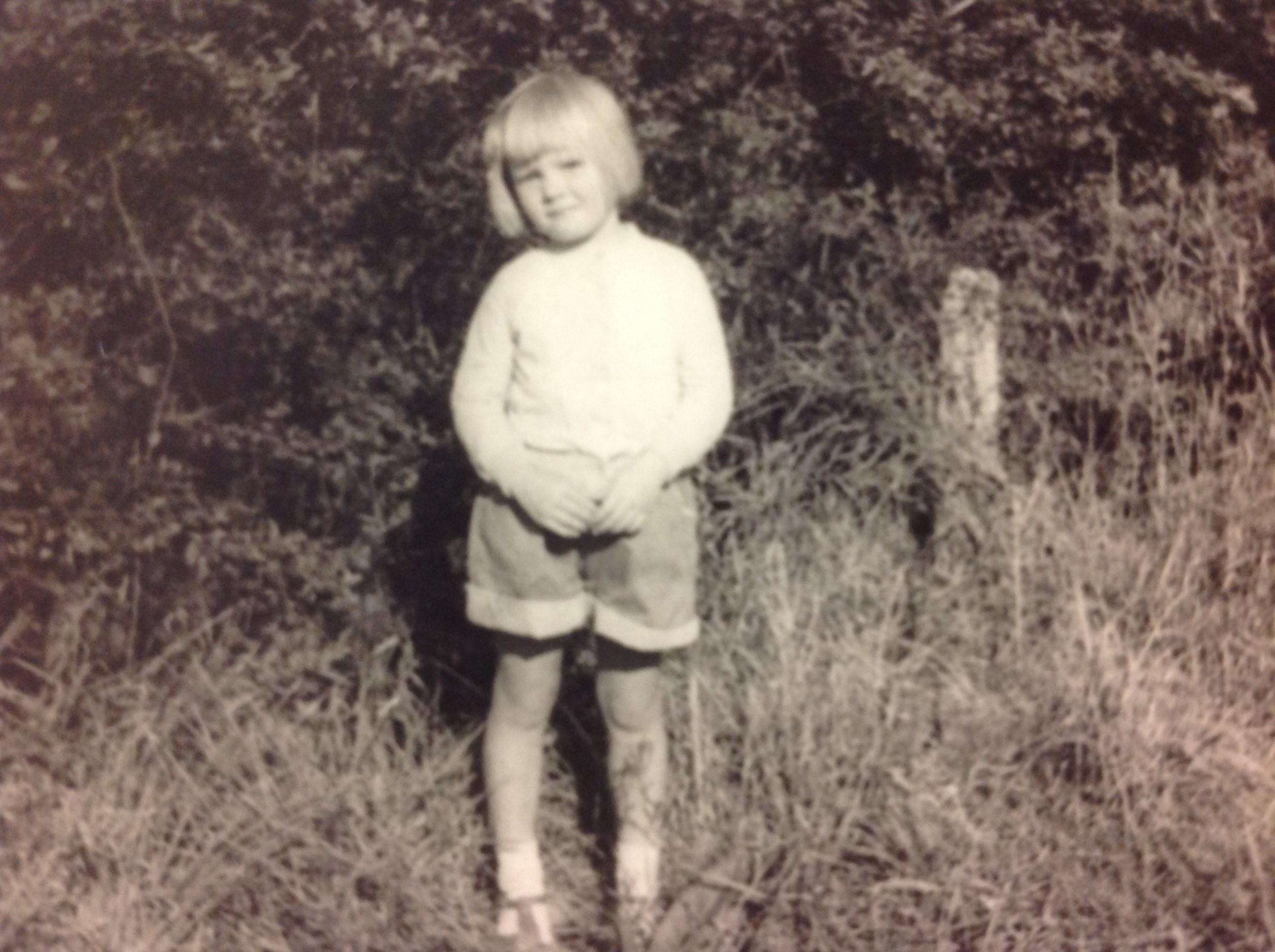 me wearing shorts in garden