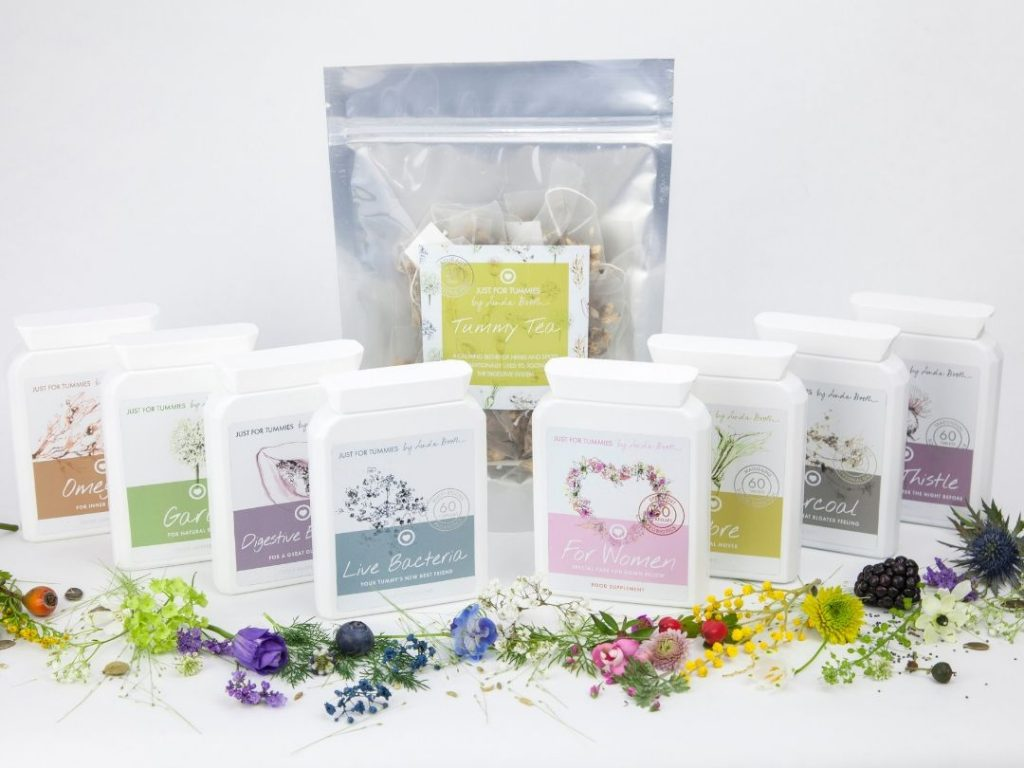 the range of Just For Tummies digestive and gut health supplements