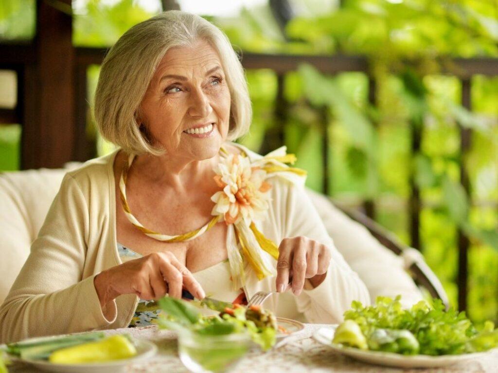 Mature lady enjoying her food (BAM blog)