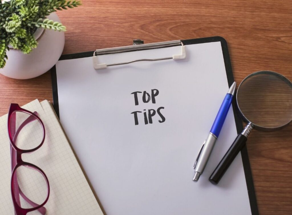 A pad with top tips written on it