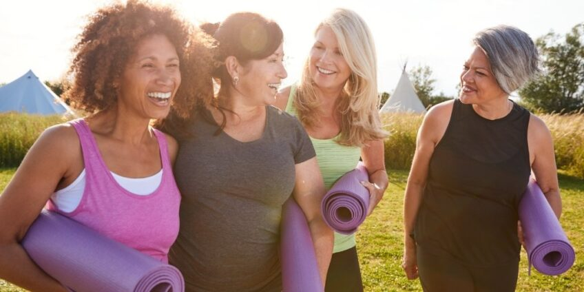 Menopause and Gut Health Video discussion blog image - women with yoga mats