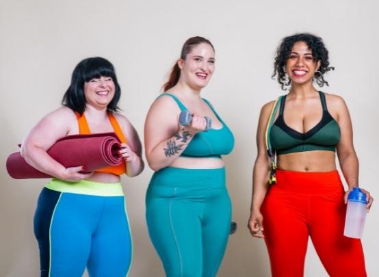 Plus sized women exercising