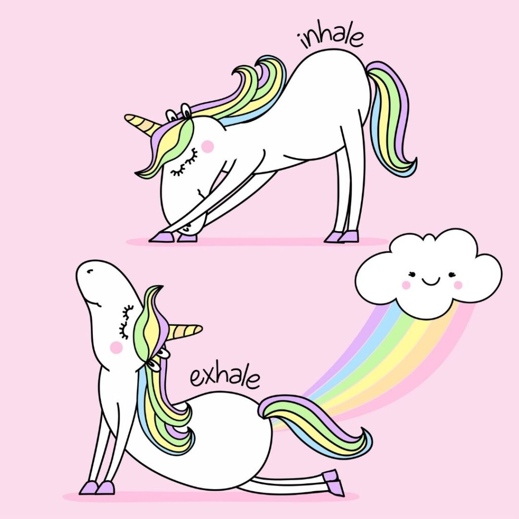 Windy unicorn to demonstrate that you can develop excessive wind during the menopause